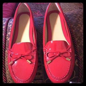 Michael Kors red flats, 9M, worn once, like new
